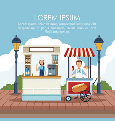 Food stand poster vector