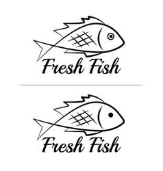 fresh fish logo symbol sign black colored set 5 vector image