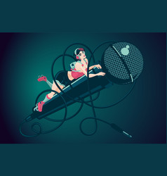 girl with microphone music vector image