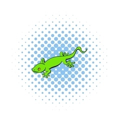 Green gecko lizard icon comics style vector