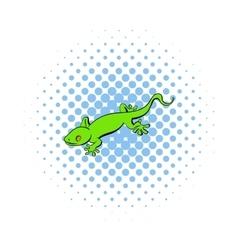 Green gecko lizard icon comics style vector image