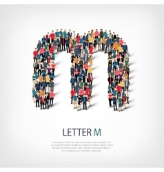 Group people shape letter M vector