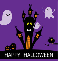 halloween card haunted house silhouette with eyes vector image