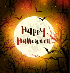 halloween card with moon and black silhouettes of vector image