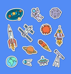 hand drawn space elements stickers set vector image