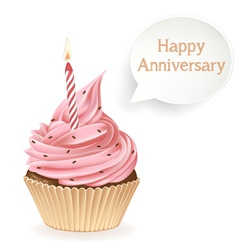 Happy Anniversary Cupcake vector image