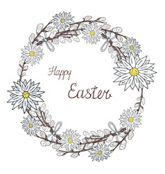 happy easter wreath with chamomile and vector image