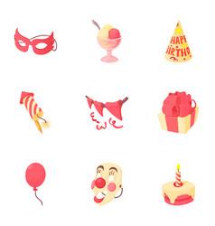 Holiday birthday icons set cartoon style vector