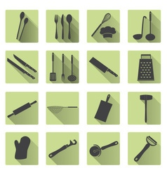 home kitchen cooking utensils flat shadow icons vector image