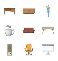 Home stool icons set cartoon style vector