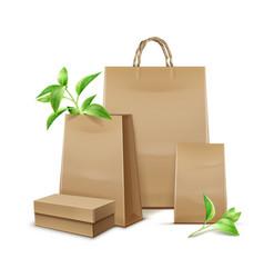 Kraft paper bags vector