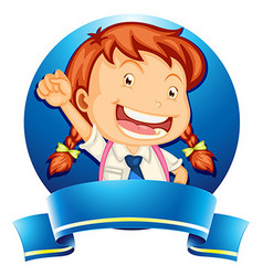 Label design with girl in school uniform vector