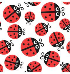 Ladybug pattern seamless baornament vector