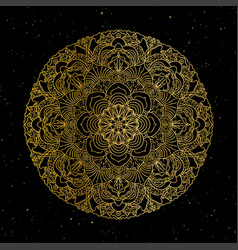 Mandala gold round ornament pattern on black vector