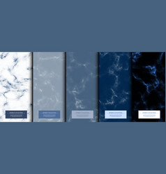 Marble collection abstract pattern texture navy vector