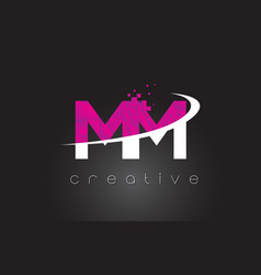 Mm m m creative letters design with white pink vector
