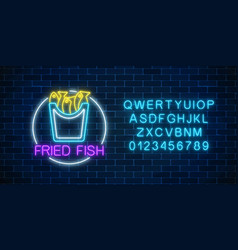 neon glowing sign of fried fish in circle frame vector image