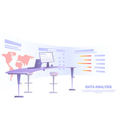 Office desk with computer near semicircular screen vector