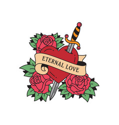 old school tattoo emblem label with dagger heart vector image