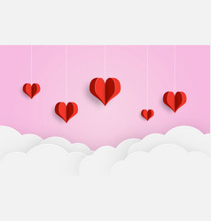 paper cut balloon red heart and clouds on pink vector image