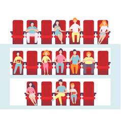 People sitting in cinema hall men women and vector