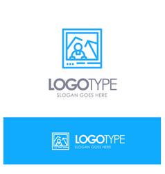 Picture image landmark photo blue logo line style vector