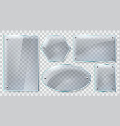 realistic glass frames reflective glass plate vector image