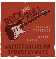 rock and roll label font vector image