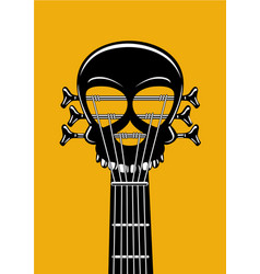 Rock and roll music poster guitar riff with skull vector