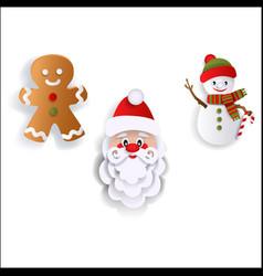 santa gingerman and snowman christmas decoration vector image