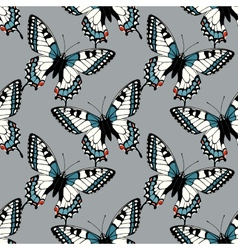 Seamless pattern with machaon swallowtail vector