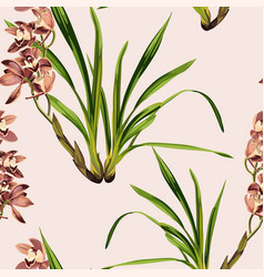 seamless tropical orchids exotic flower pattern vector image