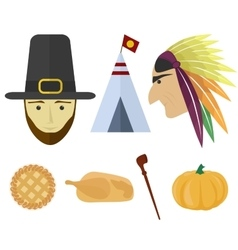 set for Thanksgiving Day vector image
