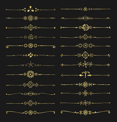 set golden decorative calligraphic elements vector image