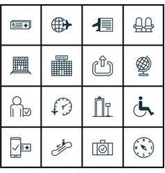 Set of 16 transportation icons includes exit vector