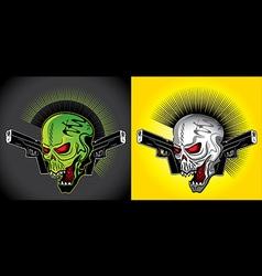 smiling skull glock pistols punk design vector image vector image