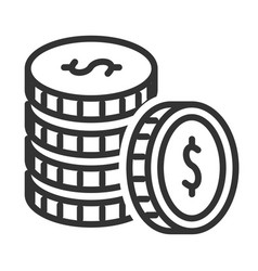 stack coins black set success and income vector image