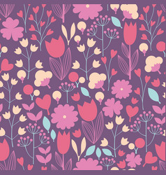 stylized flowers and branches seamless pattern vector image