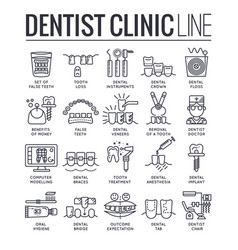 Thin line dentist clinic concept icon set fla vector