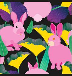 Three fluffy grey rabbits surround large green vector