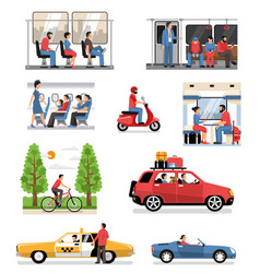 transportation vehicles people set vector image