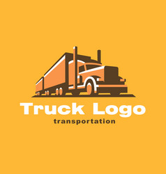 Truck logo on dark background vector