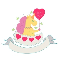 Unicorn on a cloud vector