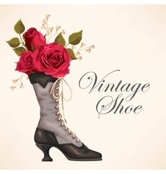 Vintage shoe with roses vector