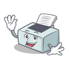 Waving printer character cartoon style vector