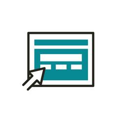website click web development icon line and fill vector image
