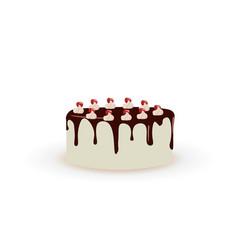 white cake with melting chocolate vector image