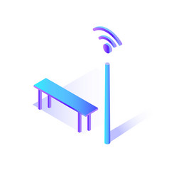 wifi connecting hot spot with bench to sit icon vector image