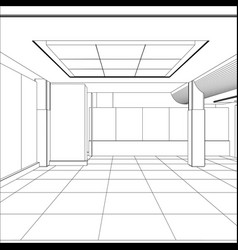 Wire-frame office room eps 10 format vector