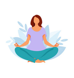 woman meditate in yoga pose person doing vector image